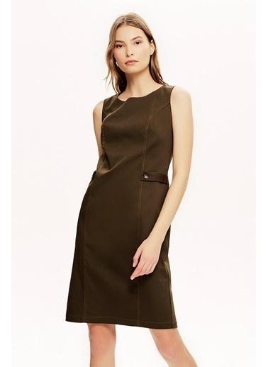 NaraMaxx Sıfır Kol Ön Detaylı Elbise Haki